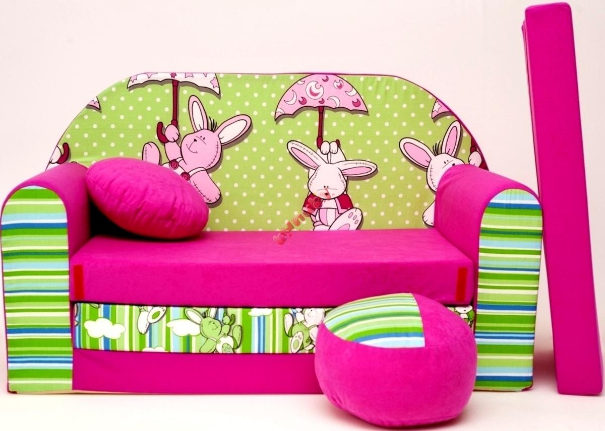 Sofa Dla Dzieci Zielono Fioletowa Zajączki Sofy Dla