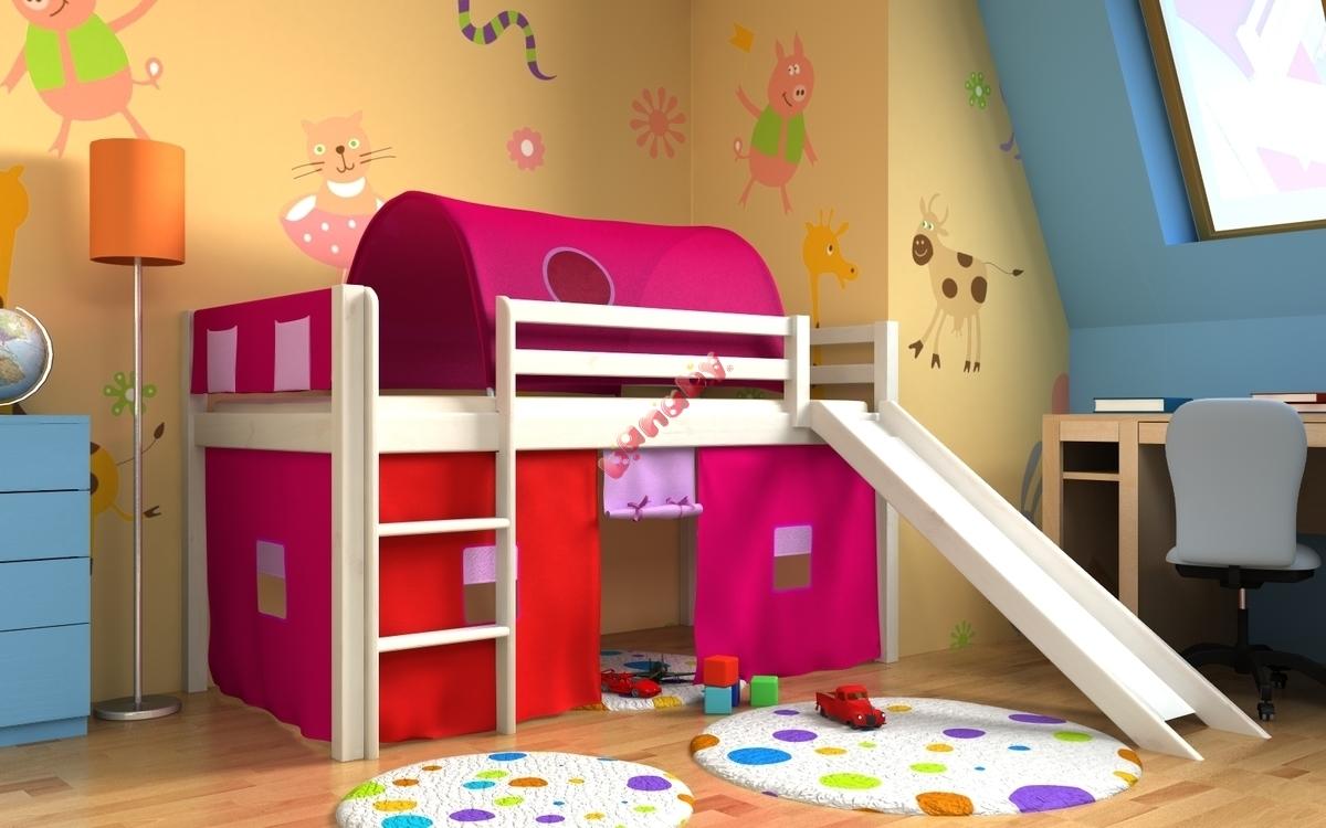 łóżko Gabi Ze Zjeżdżalnią Tunelem I Schowkami Białe