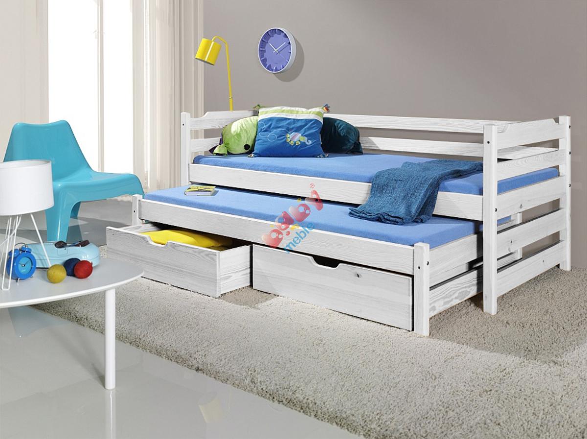łóżko Dla Dzieci Z Dostawką Sam Białe łóżka Podwójne